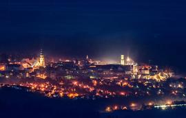 Nocna panorama Bystrzycy Kłodzkiej