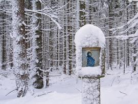 Kapliczka przy Drodze Wieczności w Górach Bystrzyckich