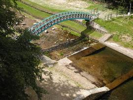 Widok z zapory na rzekę Wilczka, Międzygórze