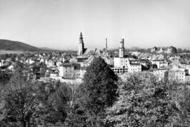 Panorama Bystrzycy Kłodzkiej z Góry Parkowej, fot. Tadeusz Scelina (ok. 1950 r.)
