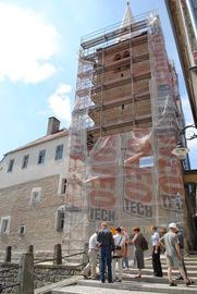 Baszta Rycerska przy ul.Rycerskiej w trakcie remontu - wizyta konserwatora zabytków